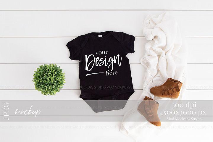 Baby Bodysuit Mockup BLACK | Rabbit Skins 4400 Mockup