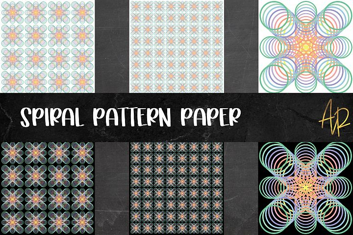 Spiral Pattern Paper PNG JPEG Bundle | Sublimation