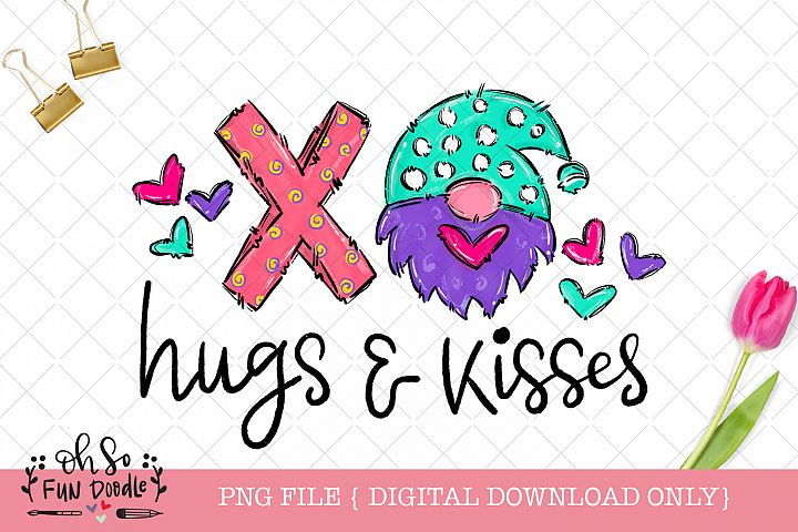 XO hugs and kisses, valentine gnome, Sublimation design