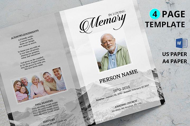 MOUNTAIN| Funeral Program Template