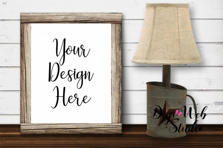 Wood Sign Mockup - Farmhouse Wood Frame with Rustic Lamp