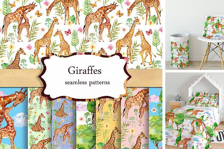 Giraffes Seamless patterns