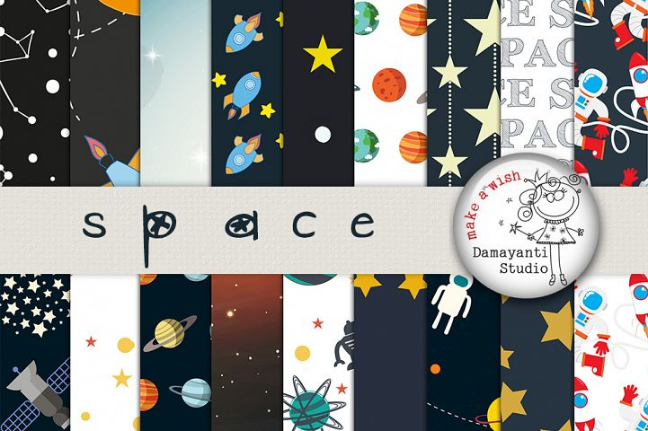 Space paper pack, space digital paper, astronaut party paper, scrapbook paper, rocket, outer space,  Stars, Moon, Galaxy, planets, Earth