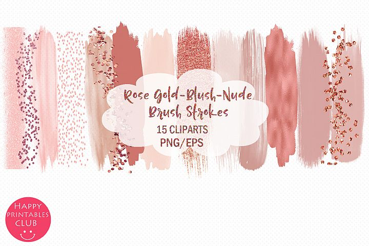 Rose Gold Brush Strokes-Blush Strokes-Nude Brush Strokes