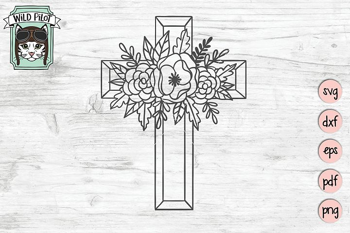 Flower Cross SVG file, Religious Cut File, Christian, Floral