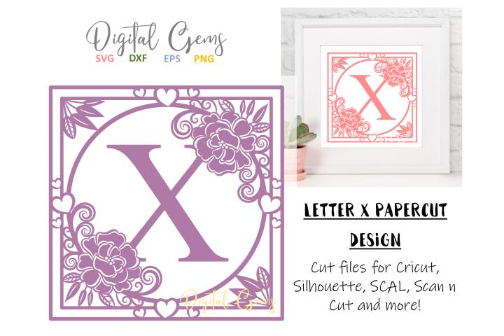 Letter X papercut design. SVG / DXF / EPS files