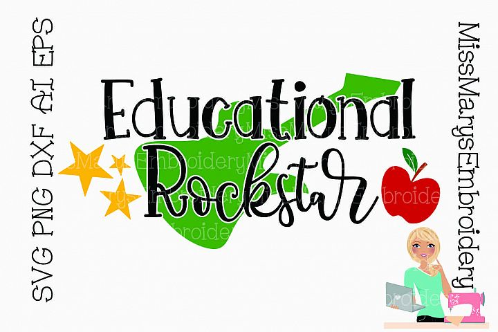 Educational Rock Star SVG Cutting File PNG DXF AI EPS