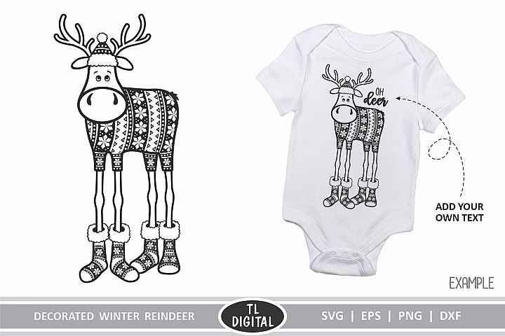 Decorated Winter Reindeer - SVG, EPS, PNG and DXF