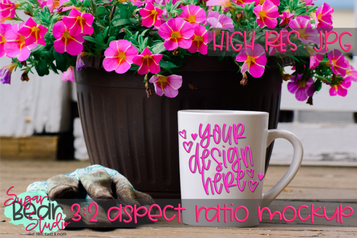 White Mug with Pink Flowers and Gardening Gloves Mockup