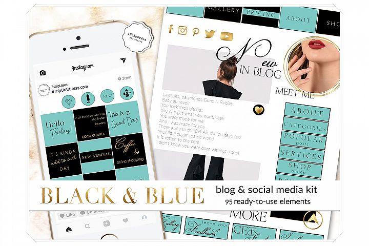 Blog Design Kit - Gold on Black and Blue Blogger Template