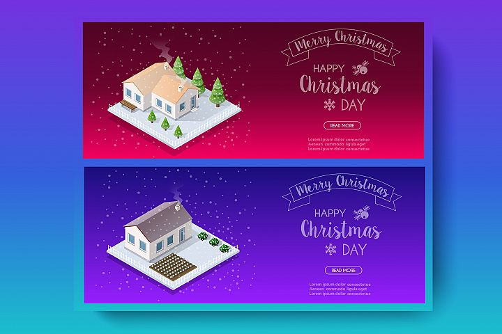Isometric landscape snow covered Christmas