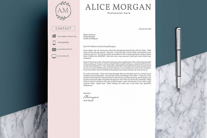 Professional Creative Resume Template - Alice Morgan - Free Design of The Week Design3
