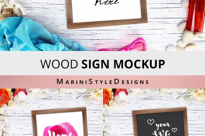 Summer Wood Sign mockup, Beach square wooden sign mockup 963 example 2