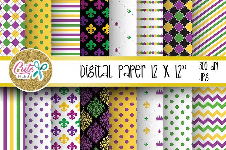 Mardi gras paper, carnival digital paper