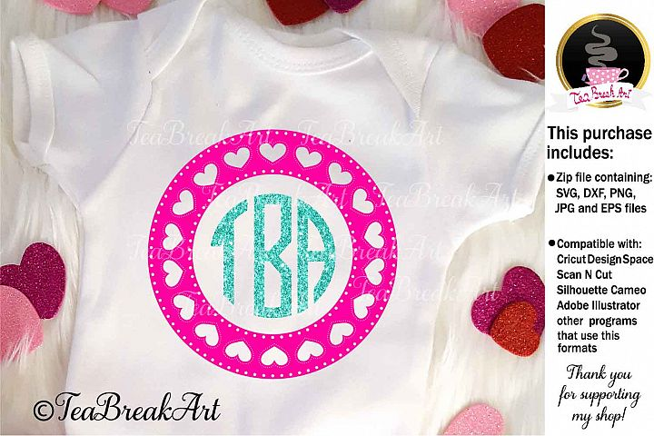Monogram Love Frame Clip Art Cutting Files 905