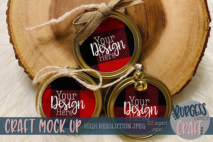 Mason jar lid ornament trio Craft mock up |High Res JPEG