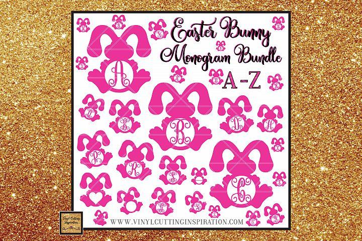 Easter Svg, Easter Bunny Svg, Rustic Bunny Monogram Bundle