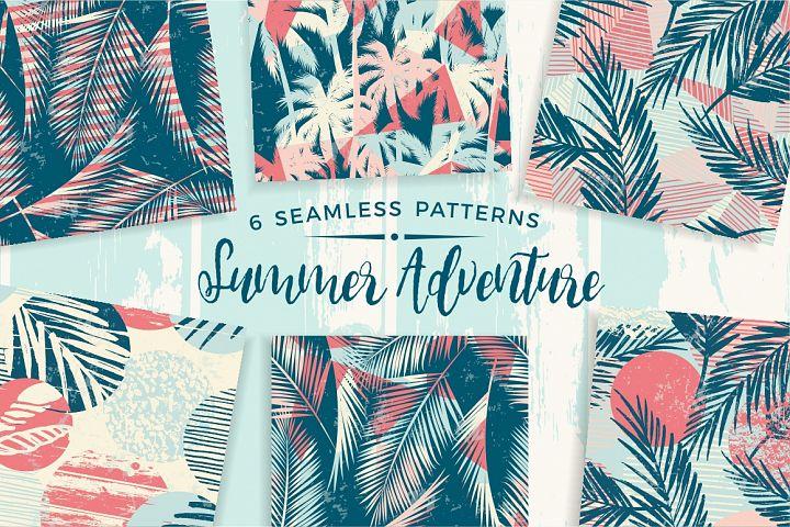 Summer Adventure. 6 seamless pattern