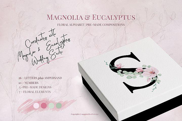 Magnolia & Eucalyptus Floral Alphabet