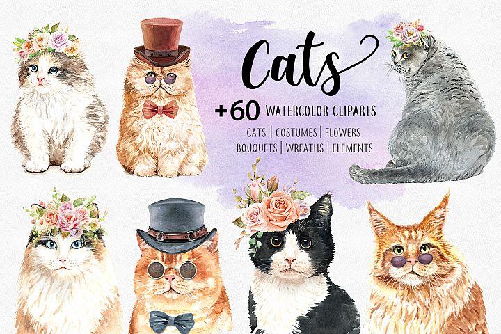 Cat Lover Watercolor Cliparts, Animals watercolor.