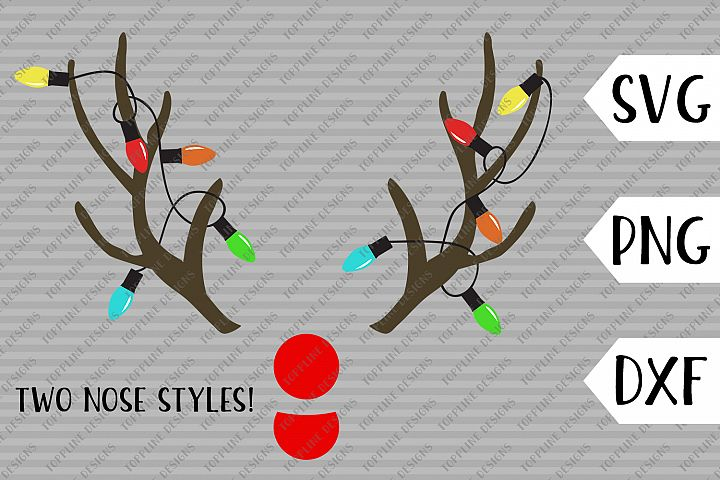 Christmas Antlers - SVG / PNG / DXF- Christmas Lights, Bulb, Light string