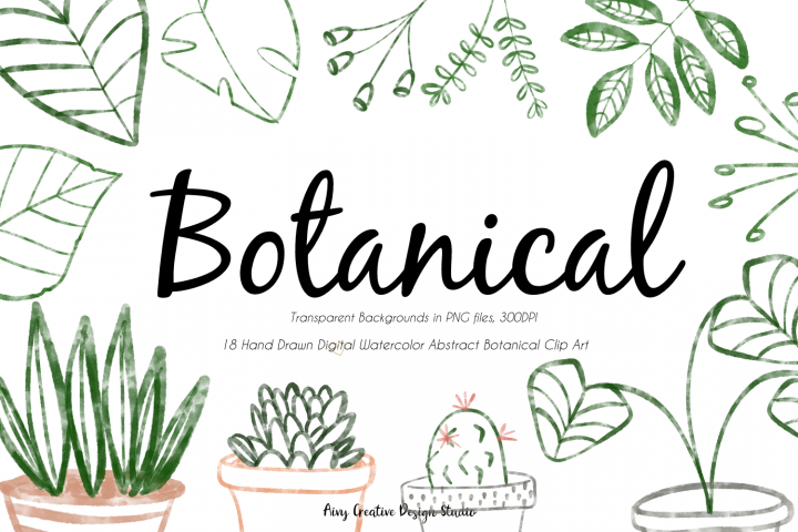 18 Hand Drawn Minimalist Botanical Abstract Clip Art Bundle