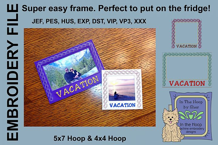 Vacation Picture Frames - 4 x 4 and 5 x 7 Hoops