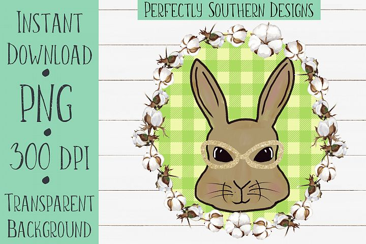 Bunny with Green Buffalo Plaid With Cotton Wreath