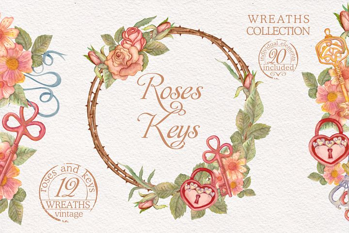 Watercolor wreaths set. Roses & keys