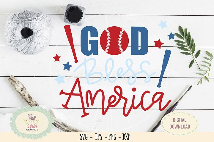 God bless america baseball of July SVG cut file, 4th of july