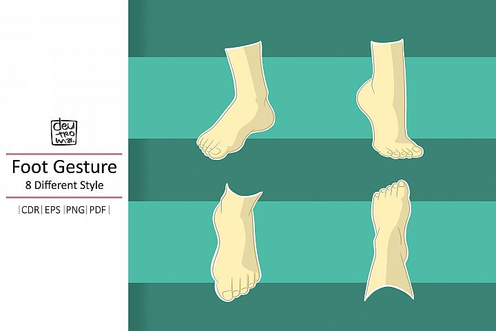 Cartoon Foot Gesture Vector - EPS CDR PDF PNG