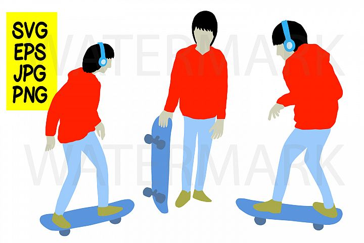 Skateboard boy 3 design - SVG-EPS-JPG-PNG