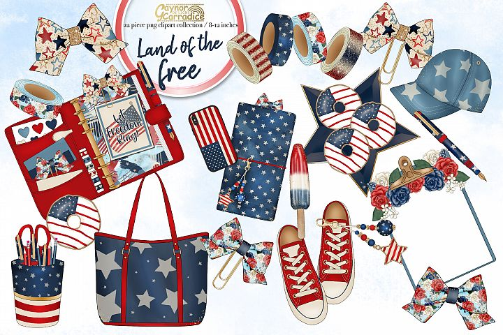 Watercolor 4th of July planner clipart collection