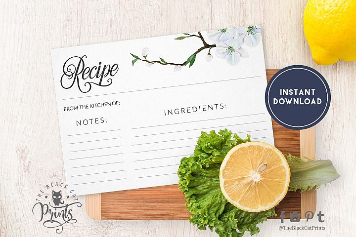 Spring floral Recipe card | Printable | Double Sided