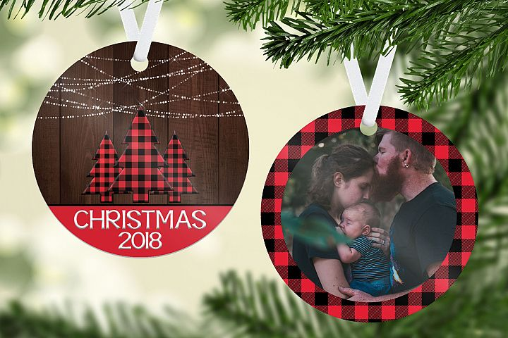 Rustic Chic Plaid Christmas Ornament Template
