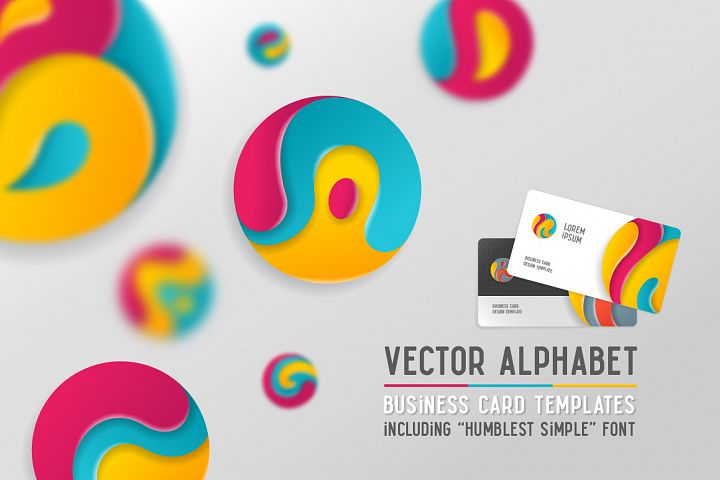 Round alphabet & Business cards