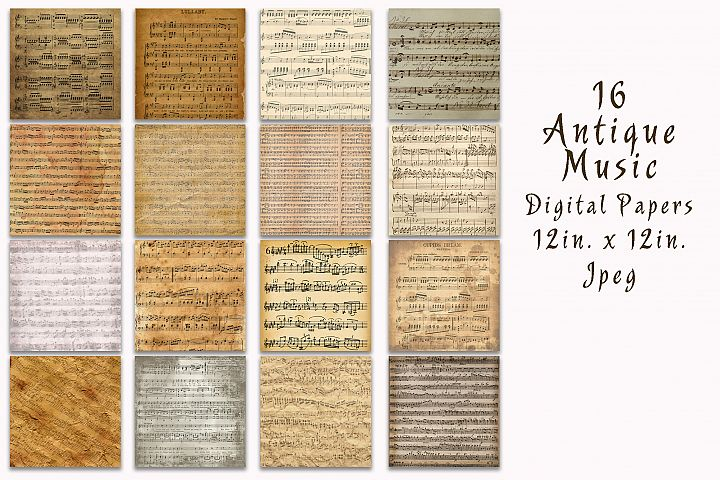 Antique Music Digital Paper - Free Design of The Week Design0