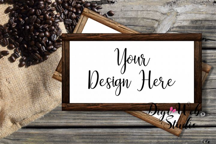 Flat Lay Wood Frames Mockup - Wood Signs w/ Coffee Beans