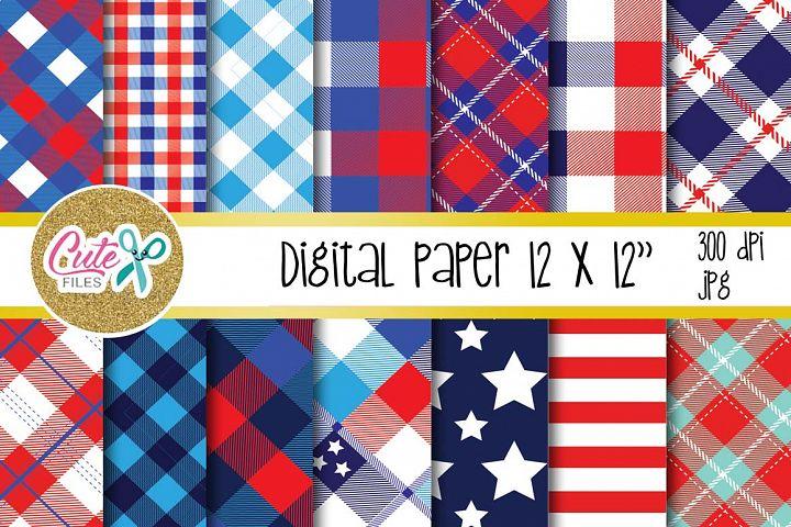 Patriotic Buffalo Check Plaid digital paper