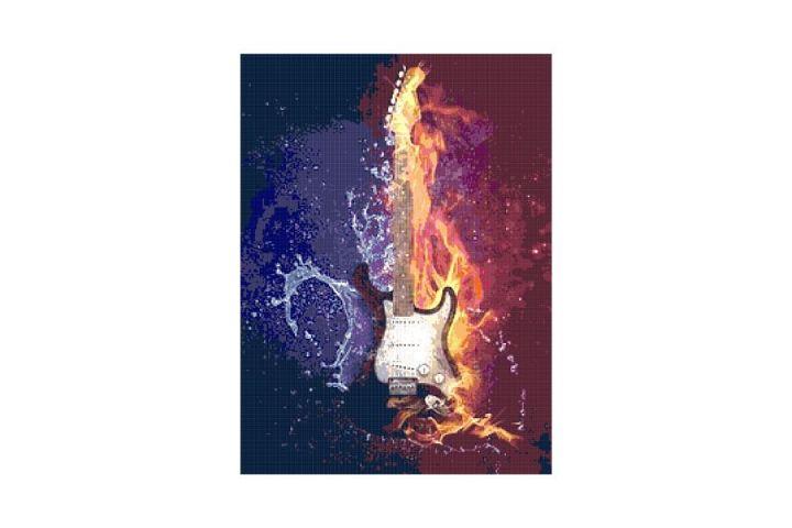 Electric Guitar Fractal Cross Stitch Pattern