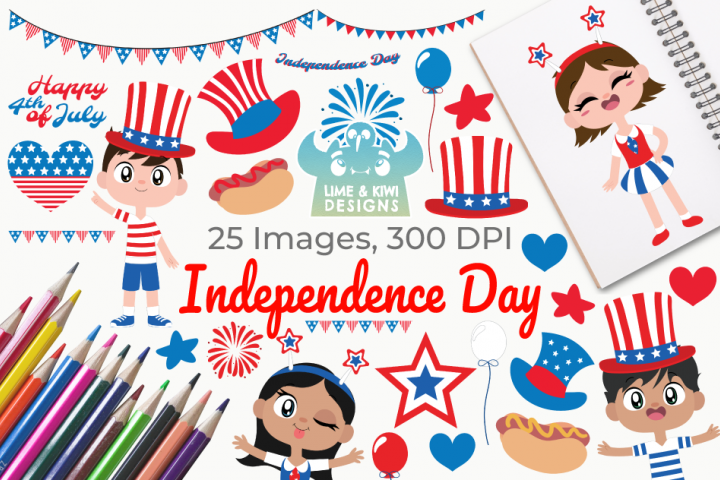 Independence Day Clipart, Instant Download Vector Art
