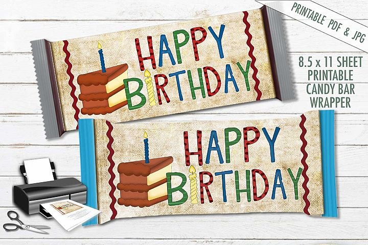 Happy Birthday Candy Bar Wrapper- Hershey Wrapper - PDF JPG