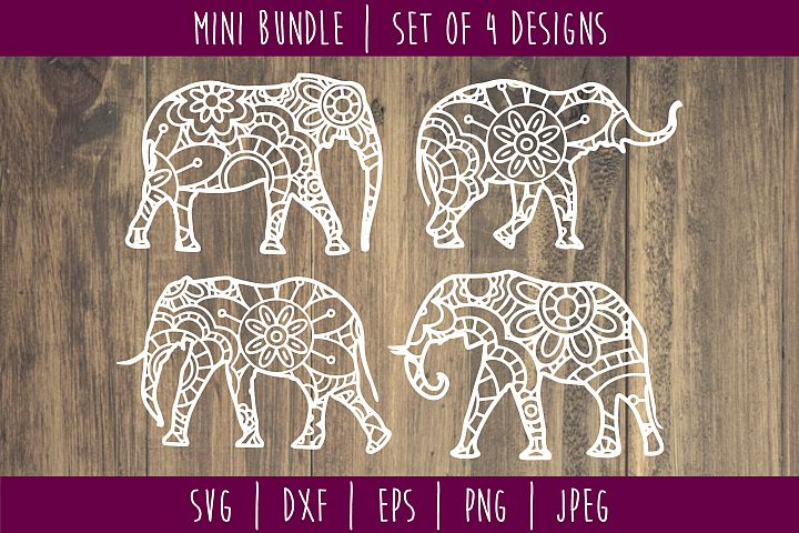 Elephant Mandala Zentangle Bundle Set of 4 - SVG