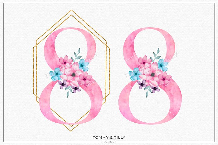 Eight Pink Bouquet Birthday Number - Sublimation PNG Clipart