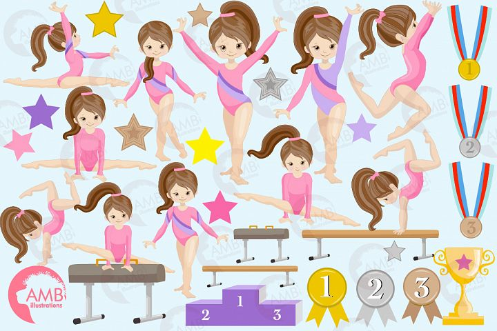 Gymnast girls clipart, graphics, illustrations AMB-2136
