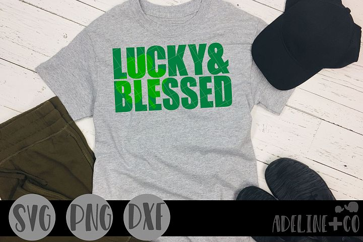 Lucky and blessed SVG PNG DXF, knockout, St Patricks Day