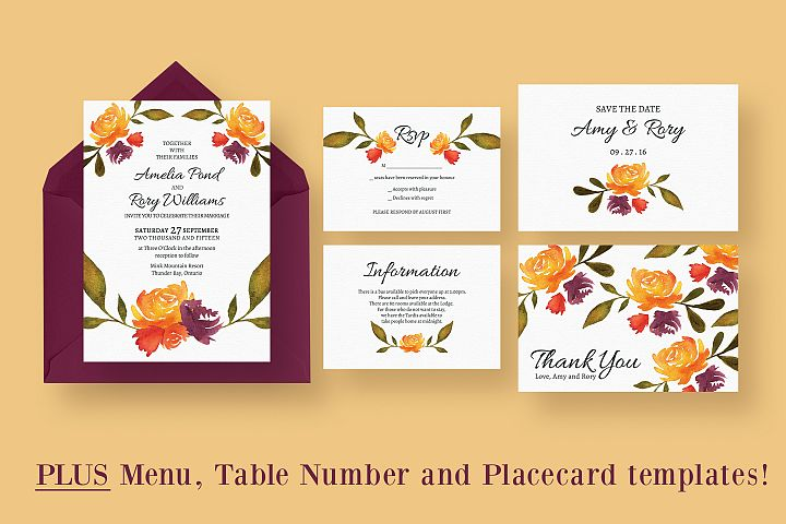 Watercolour Fall Wedding Suite