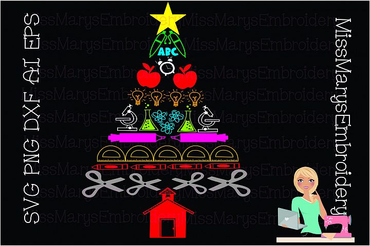 School Supply Christmas Tree SVG Cutting File PNG DXF EPS AI