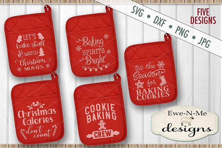 Christmas Cookie Themed Pot Holder Bundle SVG DXF Files