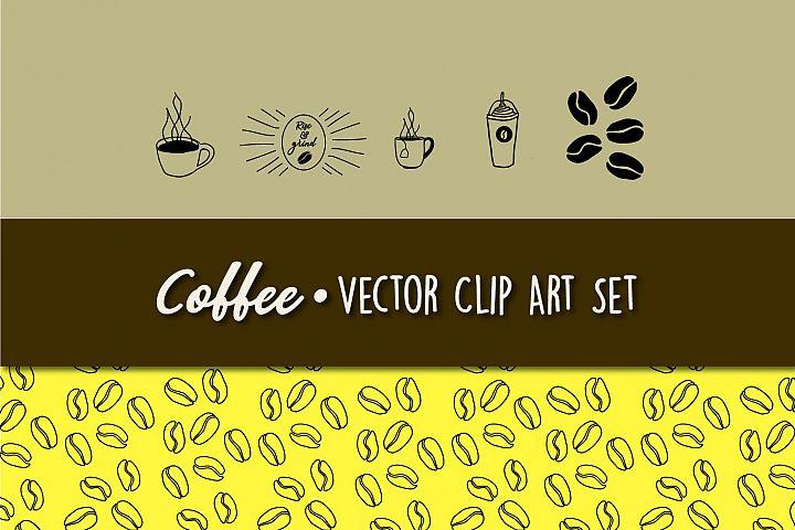 Coffee Themed Vector Clip Art Set